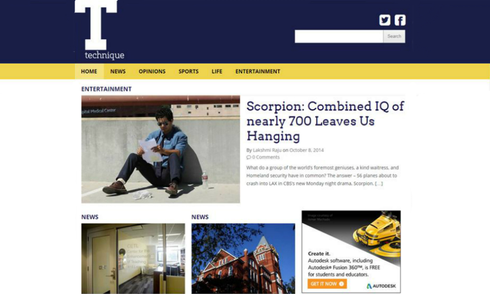 Medium Rectangle Banner Ad on The Techniques website at Georgia Tech for Autodesk
